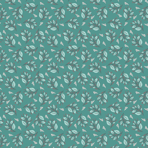 Cherished Moments Berry Branches Teal by Lori Woods For Poppie Cotton F