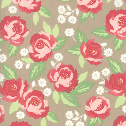 Bloomington Taupe Faded Blooms by Lella Boutique for Moda Fabrics