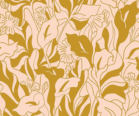 Lisbon Love | Callalily Gold by Kasey Free From Paint Brush Fabrics