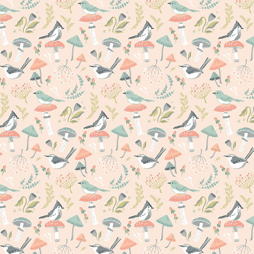 Woodland Songbirds Peach Woodland Songbird by Sheri McCulley For Poppie Cotton