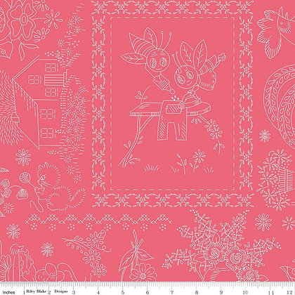 "108"" Wide Granny Chic Coral Tonal Embroidery Yardage"