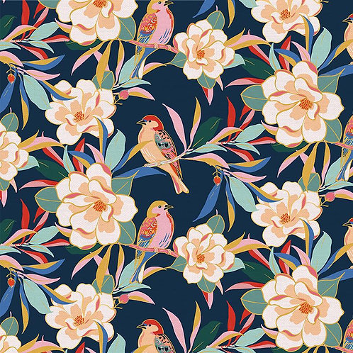 Magnolia Wonderland Magnolia Songbird Navy By Teresa Chang for Paintbrush