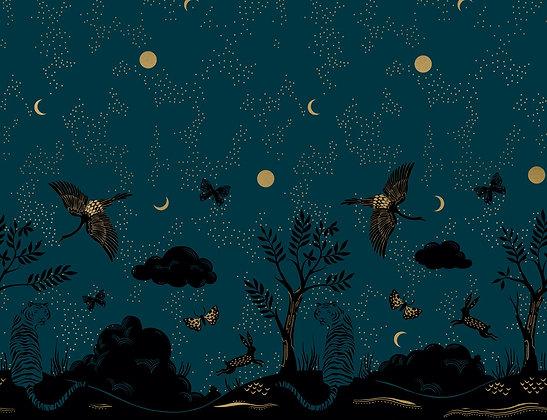 Tiger Fly Panel Met Dark Teal By Sarah Watts