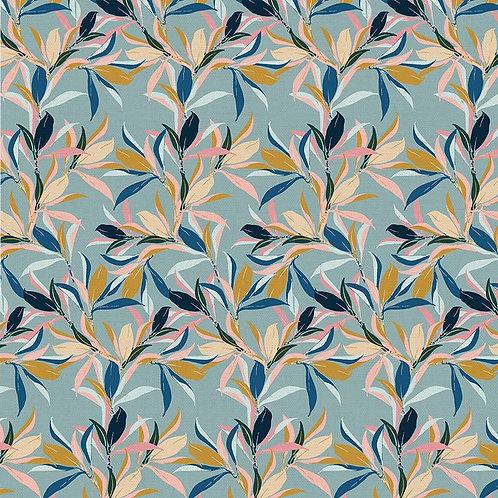Magnolia Wonderland Magnolia Leaves Blue By Teresa Chang for Paintbrush