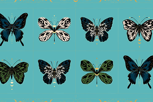 Tiger Fly Panel Met Turquoise By Sarah Watts