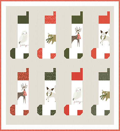 Stockings Quilt Kit Featuring Merriment by Gingiber