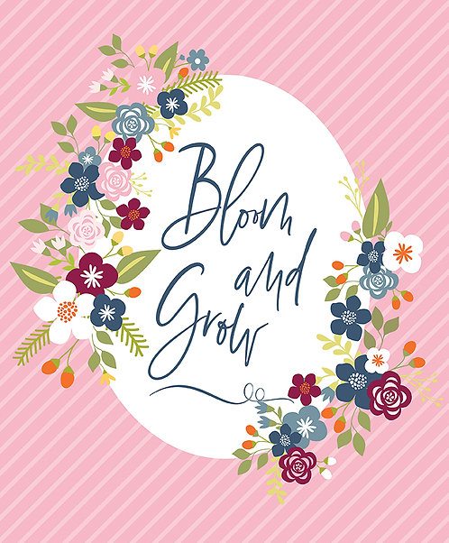 Bloom and Grow Panel Pink by Simple Simon and Company for Riley Blak