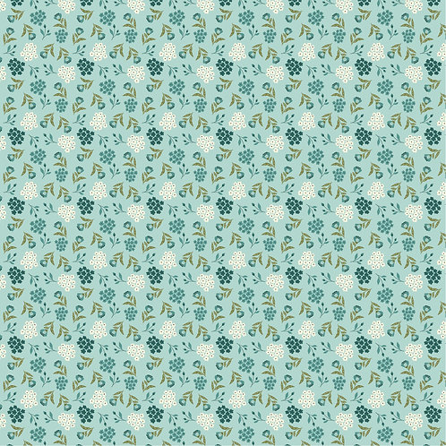 Cherished Moments New Blooming Buds Teal by Lori Woods For Poppie Cotton