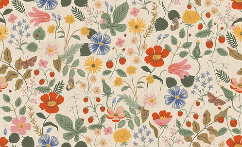 Strawberry Field Linen Canvas by Rifle Paper Co. for Cotton and Steel Fabrics