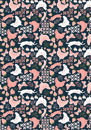 Daisy Mae - Country Life Navy by Lori Woods For Poppie Cotton Fabrics