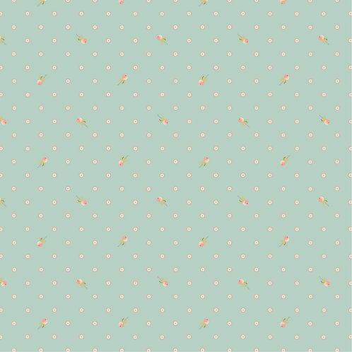 Woodland Songbirds Berry Dot Mint by Lori Woods For Poppie Cotton