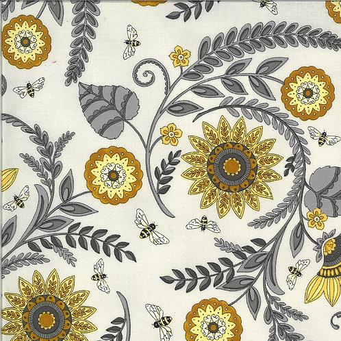 Bee Grateful   Sunflower Garden Dove Grey by Deb Strain for Moda Fabrics