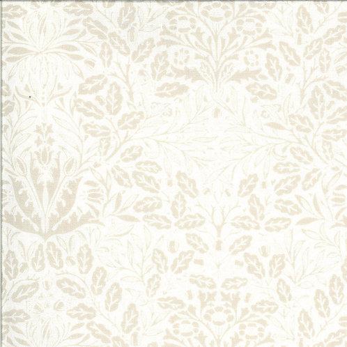 Dover Acorn Damask Linen White By Brenda Riddle Designs for Moda Fabric