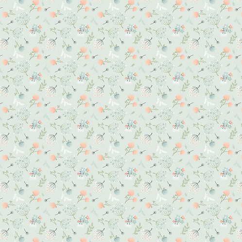 Woodland Songbirds Light Blue Woodland Floral by Sheri McCulley For Poppie Cotto