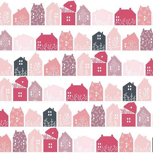 Gingham Farmhouse - Farmhouse Row Pink by Lori Woods For Poppie Cotton