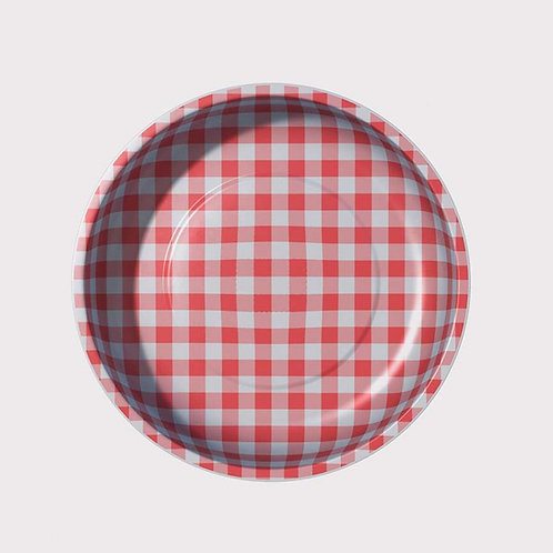 Pleasant Home Gingham Magnetic Pin Bowl Red