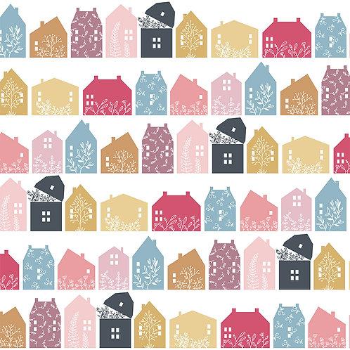 Gingham Farmhouse - Farmhouse Row Basic Multi by Lori Woods For Poppie Cotton