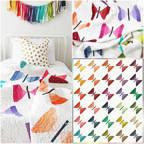 Flutter Quilt Kit Featuring Ombre Fairy Dust By V and Co for Moda Fabrics