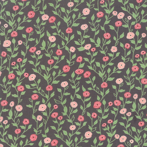 Bloomington Charcoal Pocket Full Of Posies by Lella Boutique for Moda F