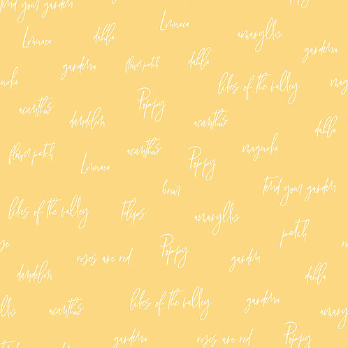 Bloom and Grow Words Yellow by Simple Simon and Company for Riley Blak