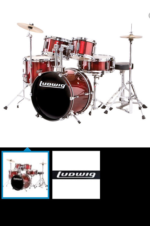LUDWIG JUNIOR WINE RED 5 PIECE DRUMKIT 8X5MT 10X5MT 13X10FT 16X10BD 12X4SD WITH