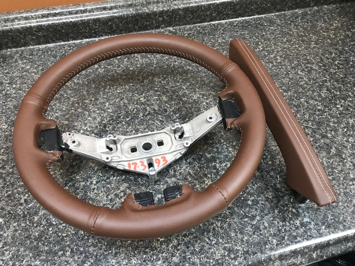 Brown and Cream Jeep Interior Wheel
