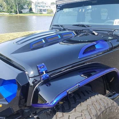 Black and Blue Jeep Wrangler