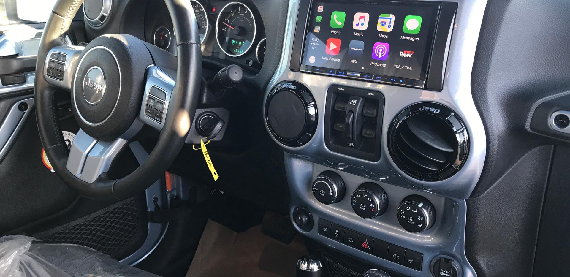 Silver and Black Jeep Interior