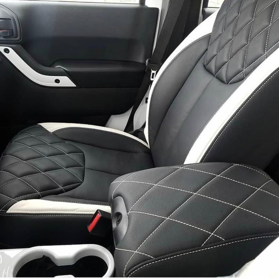 White and Black Jeep Interior
