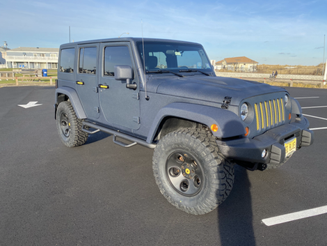 ANDREW'S COATED BLUE AND YELLOW JEEP JK