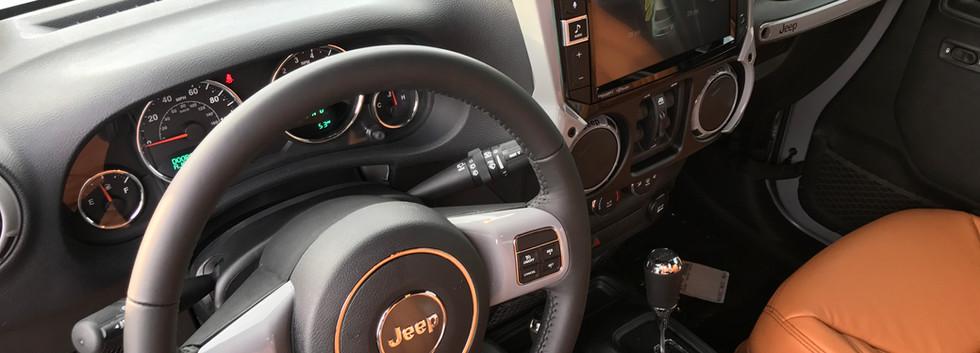 Silver and Orange Jeep Interior