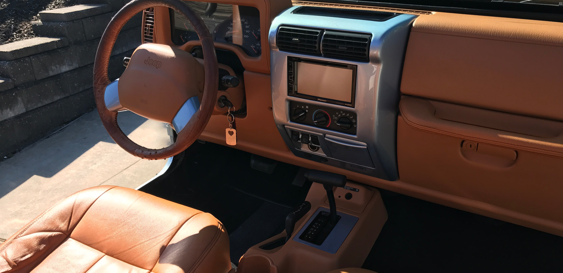 Tan and Blue Jeep Interior