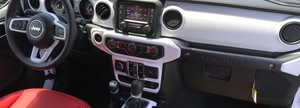 Red, White and Black Jeep interior