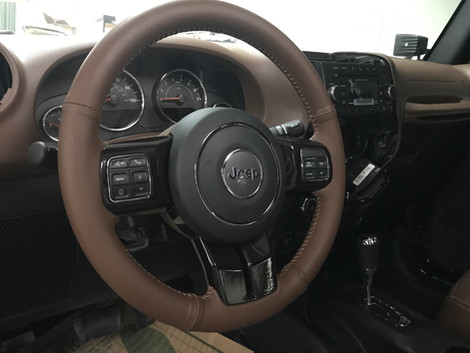 Brown and Cream Jeep Interior
