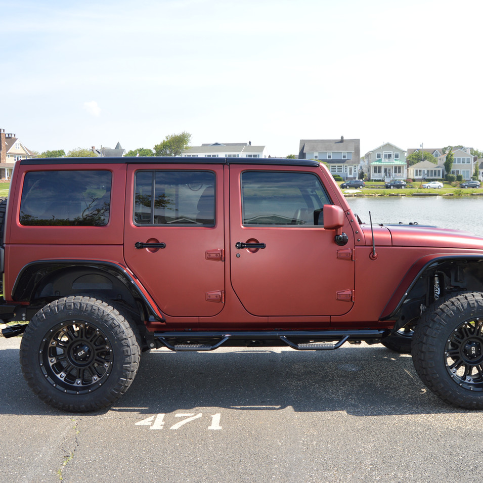 Matte Red and Glossy Black Jeep Wrangler