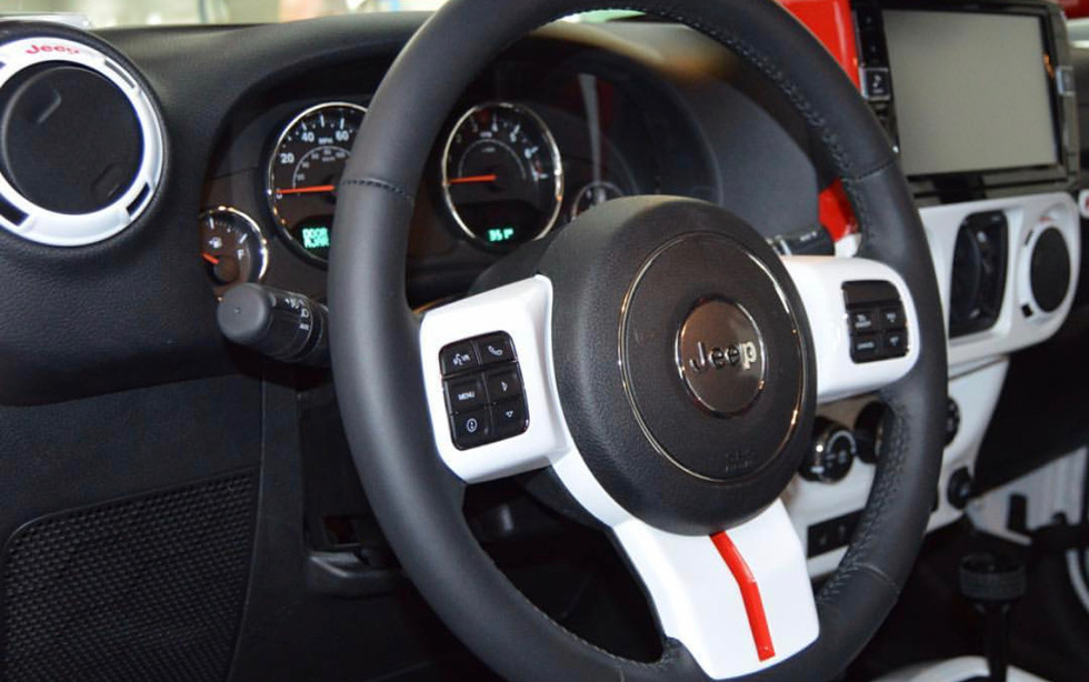 Black, White and Red Jeep Interior