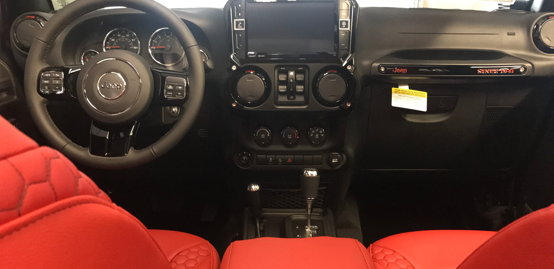 Red and Black Jeep Interior