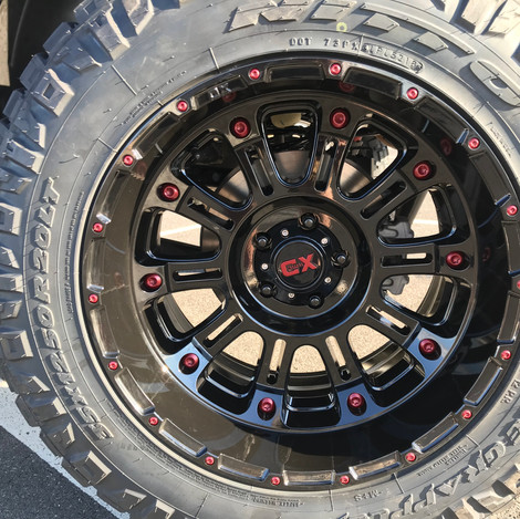 Black and Red Jeep Wrangler Wheel
