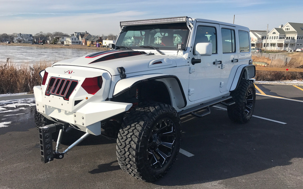 White Red and Black Jeep