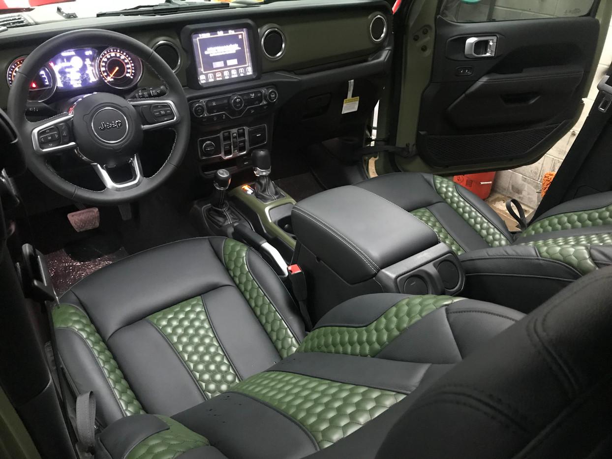 Black and Green Jeep Interior