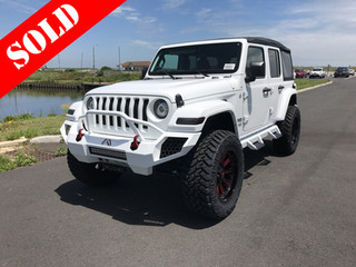 White & Red Jeep Wrangler