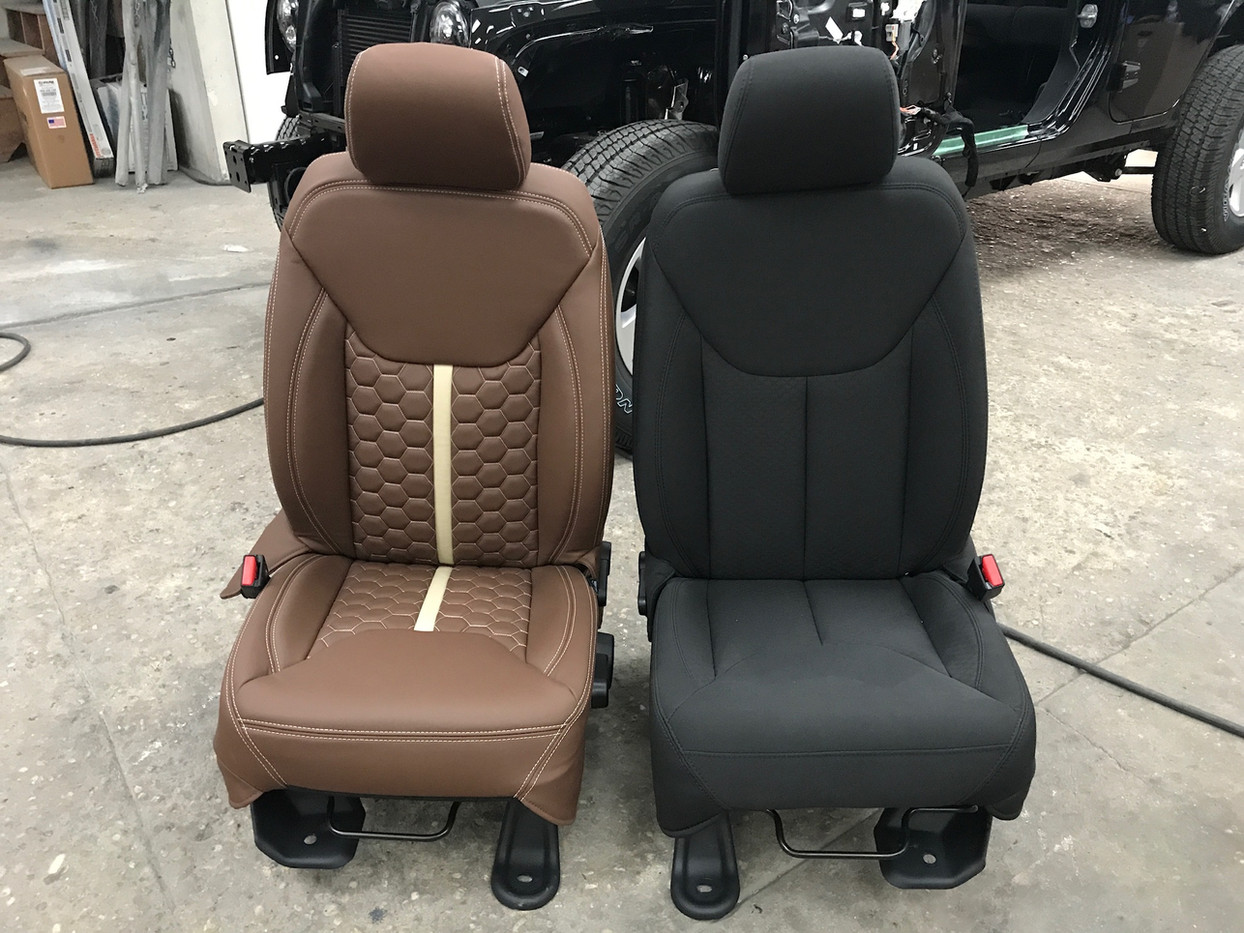 Brown and Cream Jeep Interior Before and After