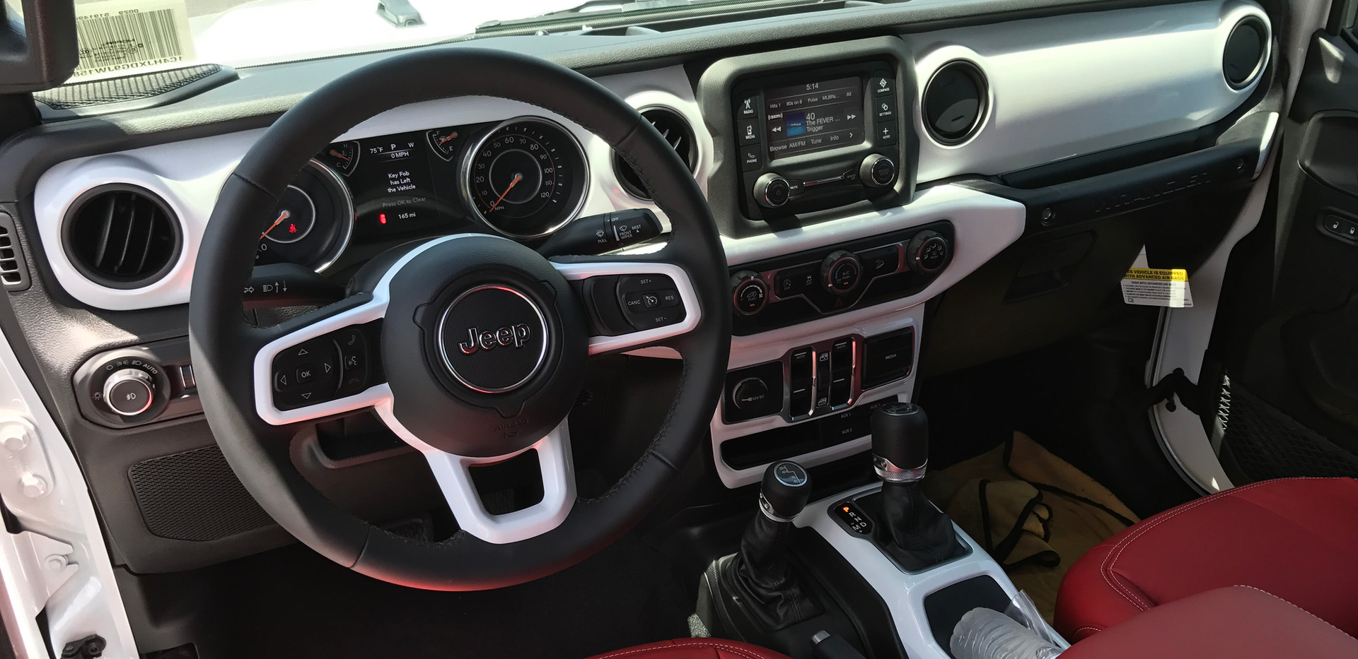 White and Red Jeep Interior