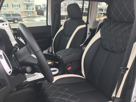 White and Black Jeep Interior