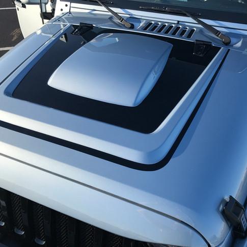 Light Blue and Black Jeep Wrangler