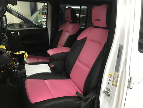 Black and Pink Jeep Interior