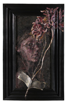 Isolation Self Portrait, 2020 29x47in oil paint on mounted canvas and wooden frame  Isolation is not the loneliness I had expected. Infact, I quite enjoy the company of myself. This differs greatly from when I was younger. I was perpetually alone and lonely, now I am simply alone.