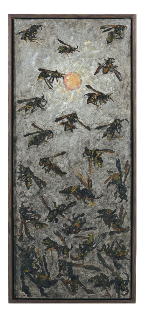 'Light Became Flame and Honeybee, Wasp' 43.5 x 19.5 x 1.875 inches  Collaged oil paint scrapings, crushed mudbrick from the 1940's, and crushed campfire charcoal on stretched canvas, in wooden frame.  I had a dream where I awoke in a field of honeybees. I was existing in a space where time had either stretched, or fallen to pieces. With the glisten of the light on my lashes, I held a hand out to shield the sun. All around me were beings, glowing of amber and light. Detail was no more, simply there was with and without. I was beside myself. Then I saw past the light to skies of ash. The light became flame and honeybee, wasp. I began grasping for them, only to reveal palms of dust.