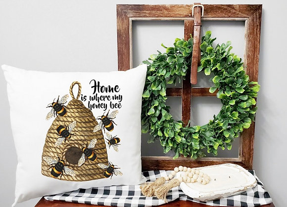Home is where my honey bee Pillow Cover