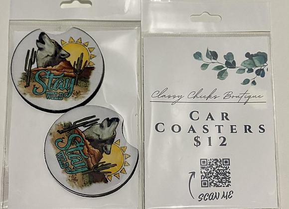 Stay Wild Wolf Car Coaster Set